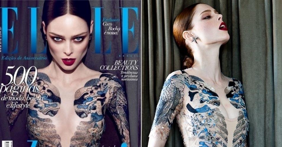 A top canadense Coco Rocha criticou por meio de seu blog a edição de imagem feita na foto que estampa a capa da revista brasileira ?Elle?, de maio