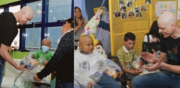 Leonardo Cândido Rodrigues confere seus doces, ao lado da mãe, Tainara. Em visita ao Graac, Gianecchini aplaude o paciente Richard Benigno (2011)