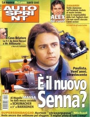 Quando despontou na Fórmula 1, em 2002, Felipe Massa demonstrou ser rápido. Também brasileiro, as comparações com Ayrton Senna foram inevitáveis, como na capa da revista italiana 'Autosprint', de 2002.
