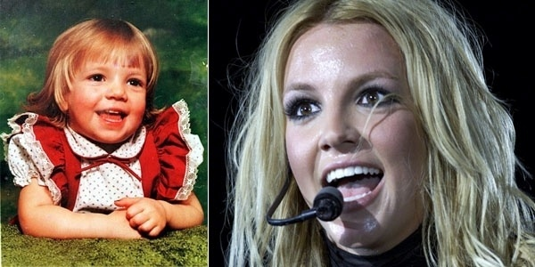 Ficaria fácil descobrir que esta gracinha de garota é Britney Spears, se não houvesse a segunda imagem?
