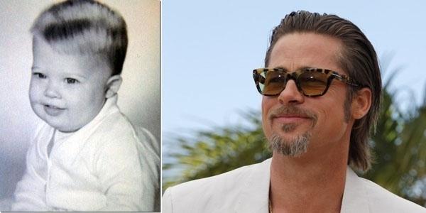 Gorducho, o ator Brad Pitt mudou muito de visual ao longo de sua carreira. Dos cabelos espetados de bebê, Brad transformou-se num homem grisalho mas ainda com a beleza conservada