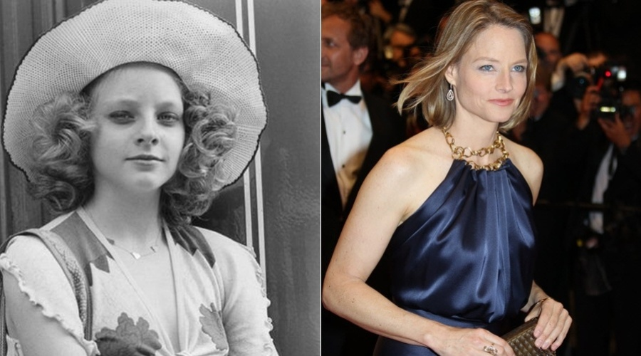 """Jodie Foster tinha somente sete anos quando fez sua estreia na TV, na série """"The Doris Day Show"""". Aos 14 anos, brilhou ao lado de Robert De Niro no filme """"Taxi Driver"""". Mas ela começou a carreira aos três anos de idade fazendo comerciais. A foto à esquerda mostra Jodie adolescente"""