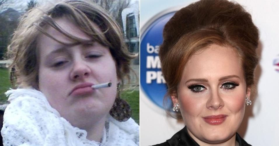 """O tabloide inglês """"The Sun"""" divulgou fotos da cantora Adele quando tinha apenas 16 anos e frequentava a Escola BRIT de Artes Dramáticas e Tecnologia, localizada em Londres. À direita, a vencedora de seis prêmios Grammy em imagem de 2012"""