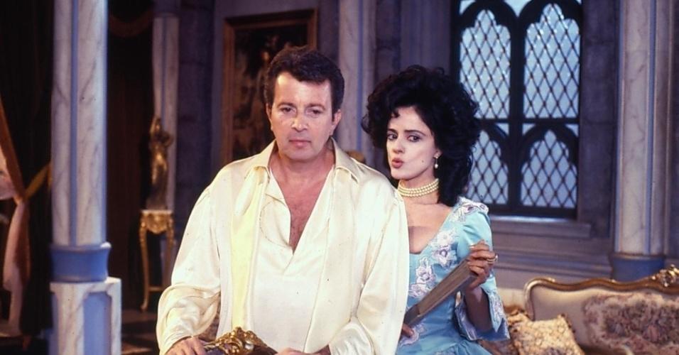 """Bergeron Bouchet (Daniel Filho) e Madeleine Bouchet (Marieta Severo) em cena de """"Que Rei Sou Eu?"""