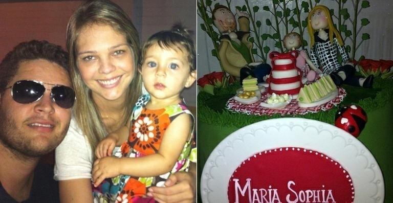 Thais Gebelein, esposa do cantor Pedro, postou no Twitter uma foto do bolo que ganhou pelo aniversário da filha, Maria Sophia, de um aninho