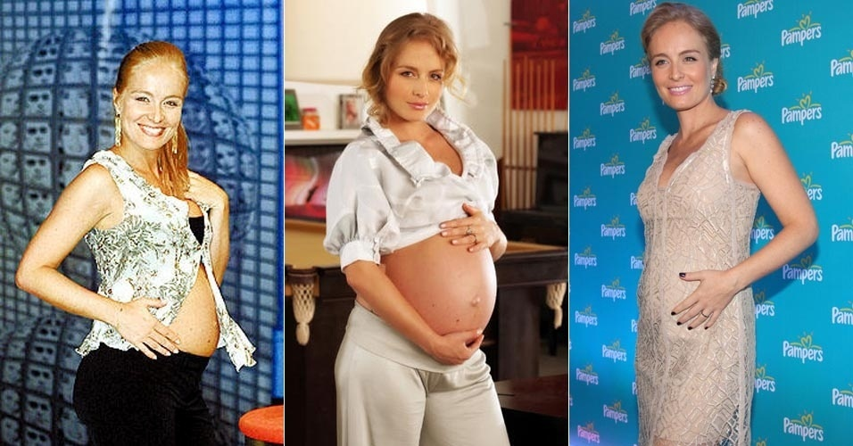 Angélica aos seis meses de gravidez de seu primeiro filho, Joaquim (dez/04); ao centro, a apresentadora exibe o barrigão de nove meses de seu filho do meio, Benício (nov/07), e aos quatro meses de gestação de sua primeira menina (9/5/12)