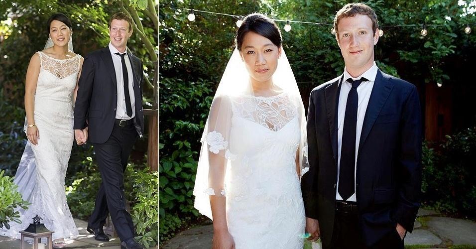 Mark Zuckerberg casou-se com Priscilla Chan em 19/5/12, após nove anos de namoro. A noiva do fundador do Facebook usou um vestido delicado e discreto, assim como foi a cerimônia realizada na cidade de Palo Alto, na Califórnia, para menos de 100 pessoas. Chan conheceu Zuckerberg em Harvard, onde ambos se formaram, e ainda se graduou em pediatria nas Escola de Medicina de São Francisco, também na Califórnia, EUA. A formatura aconteceu pouco antes do casamento, no dia 14 de maio.