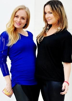 """23.mai.2012 - O programa """"Estrelas"""" reuniu Angélica e Cláudia Leitte para um encontro de grávidas. As duas loiras bateram um papo sobre gravidez, maternidade e até compararam o tamanho das duas barrigas"""