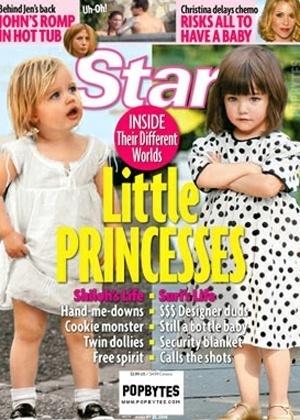 Revista 'Star' publica capa na qual compara os estilos de Shiloh Jolie e Suri Cruise (filha de Tom Cruise com Katie Holmes). A revista analisou jeito de se vestir, estilo e comportamento das duas crianças (nov.2009)