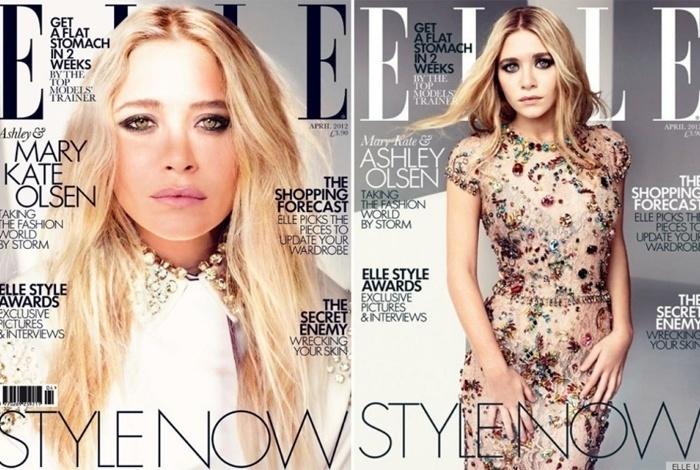 """As irmãs Olsen são capa da edição de abril da """"Elle"""" britânica"""