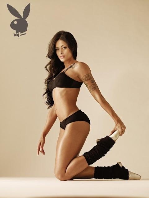 """A dançarina Aline Riscado estampa a capa da edição de junho da """"Playboy"""". A morena é dançarina do """"Domingão do Faustão"""" e seu ensaio foi inspirado no filme """"Flashdance"""", de 1983."""