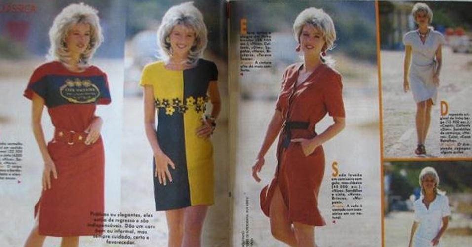 MODA: Cabelos cheios e vestidos coloridos ou estampados estavam em alta. Na foto, a reprodução de uma revista de modas com dicas para se vestir.