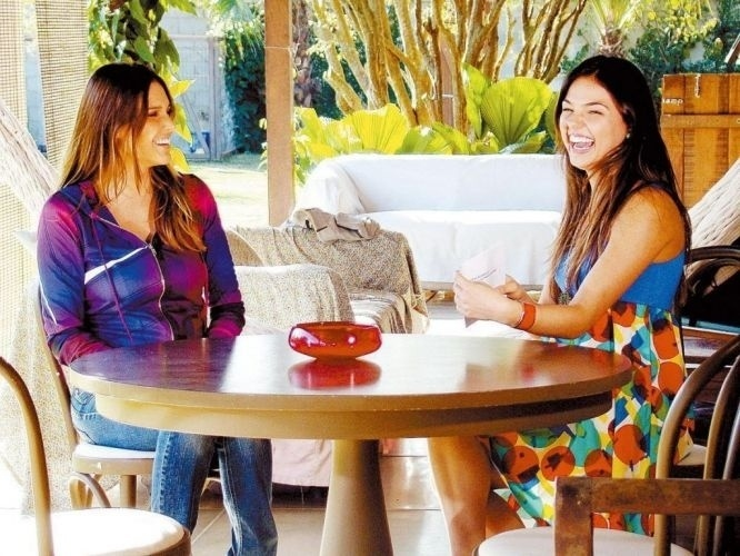 """As atrizes Fernanda Lima (à esq.) e Isis Valverde gravam cena da novela """"Beleza Pura"""", da Rede Globo (2008)"""