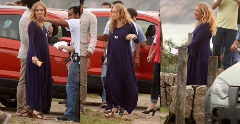 """A apresentadora Angélica exibiu a silhueta de cinco meses durante as gravações do programa """"Estrelas"""", da Globo, nesta terça-feira (26/6/12). A loira está grávida de sua primeira menina; ela já é mãe de Joaquim e Benício"""