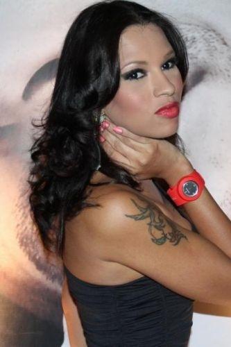 Já a ex-BBB Ariadna, que também participou da 11ª edição do 'Big Brother Brasil', comparece ao evento com um look mais discreto, um vestido preto (13/12/11). Ela também optou pro usar um relógio de pulso vermelho na festa de lançamento da marca de relógios, realizada no Rio de Janeiro Anderson Borde/AgNews