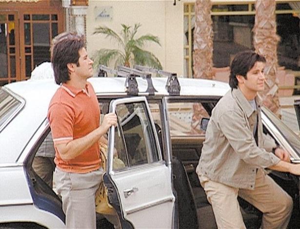 """27.set.2001 - Murilo Benício como os irmãos Diogo e Lucas em cena criada por computador para """"O Clone"""", novela da Globo"""