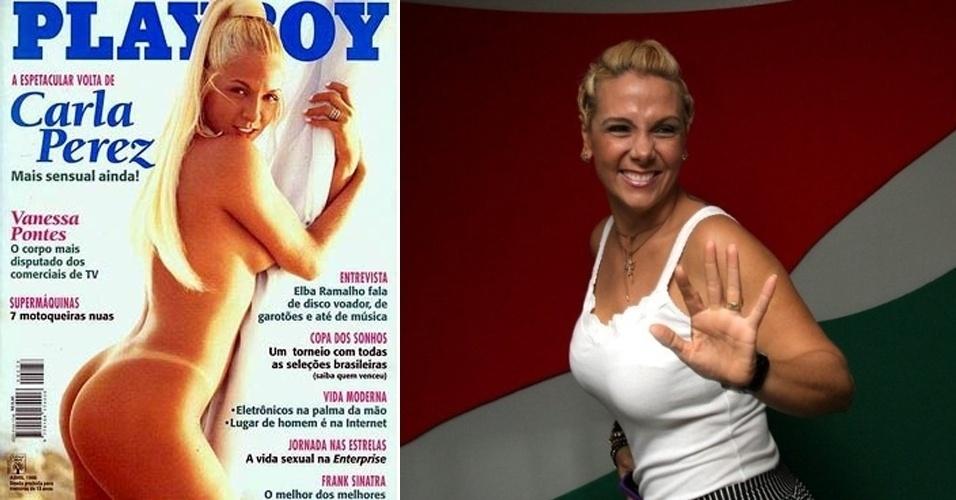 """Carla Perez, 34, surgiu como dançarina do grupo """"Gera Samba"""", em 1995, e foi a primeira de muitas outras musas do gênero. Casada com o cantor Xanddy, ela é mães de dois filhos e faz apresentações em festas e eventos para crianças"""