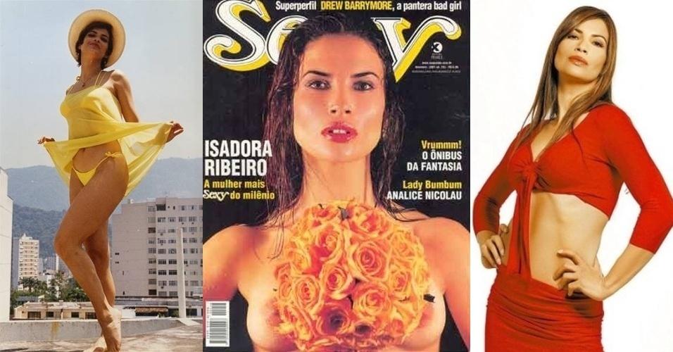 """Isadora Ribeiro, 47, ficou conhecida no Brasil como """"Garota do Fantástico"""" dos anos 90, uma das mulheres semi-nuas que apareciam na abertura do programa. Depois, emplacou sua carreira de atriz na própria emissora, usando sua sensualidade em algumas novelas da casa."""