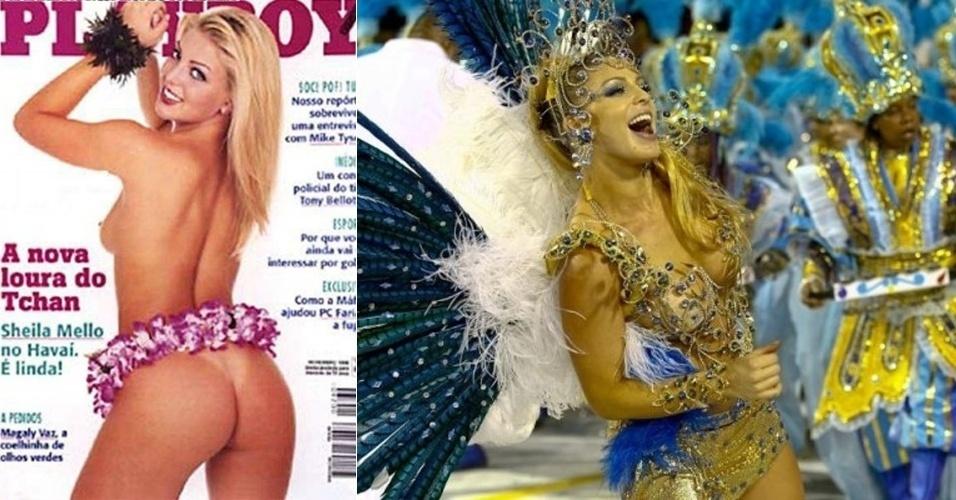 """Sheila Mello também entrou no """"É o Tchan"""" após vencer um concurso para substituir a dançarina Carla Perez, 1998. Em 2010m participou do reality """"A Fazenda""""m onde conheceu o marido, o ex-nadador Xuxa"""