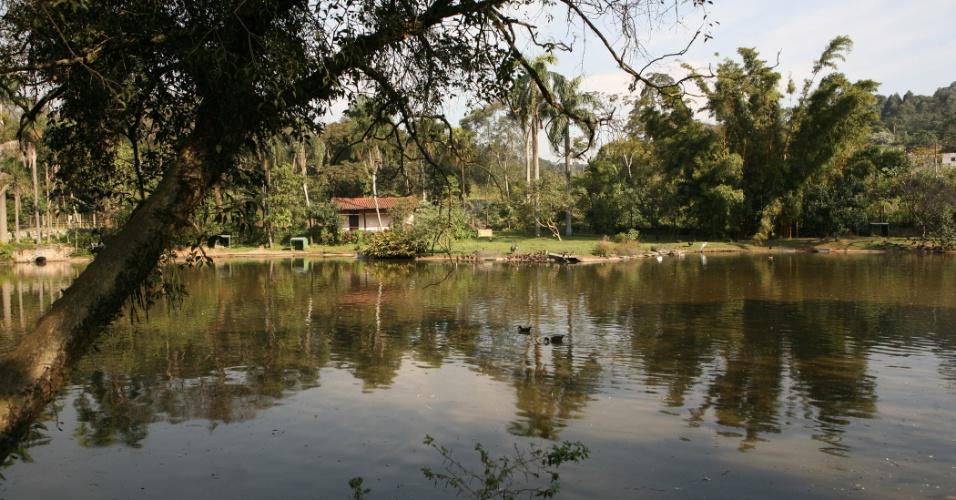 Foto dá a visão geral do lago do zoológico. Durante o inverno, o lago recebe diversas aves migratórias, que se 'aproveitam' da segurança e alimentação oferecidos pelo parque.