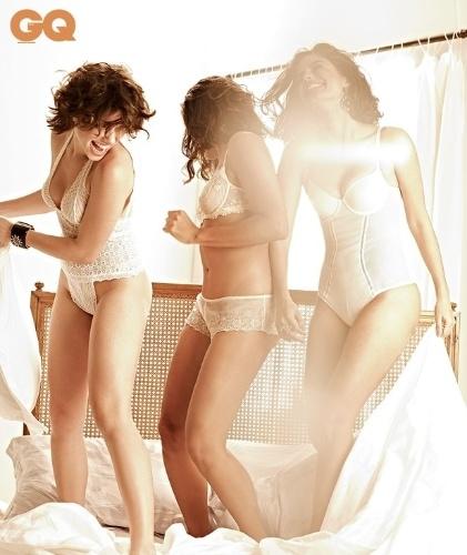"""Bruna Linzmeyer, Ildi Silva e Emanuelle Araújo, que estão no ar em """"Gabriela"""", posam para a próxima edição da revista """"GQ"""" (julho/2012). Elas interpretam algumas das garotas do cabaré Bataclã."""