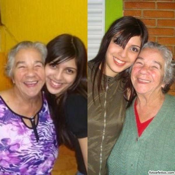 Gabrielli B. Silveira Soares mostra que adora tirar fotos ao lado da vovó Maria Barbosa, de Limeira (SP).