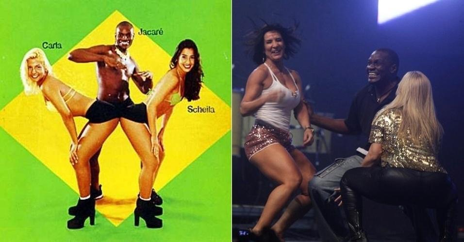 """Sheila Carvalho, Jacaré e Carla Perez relembraram o tempo que faziam parte do grupo """"É o Tchan"""", durante um show do Harmonia do Samba no Rio de Janeiro. Os ex-integrantes dançaram até o chão e divertiram o público. """"Adorei relembrar os bons e velhos tempos. Trio parada dura"""", escreveu Scheila no Twitter (30/7/12)"""