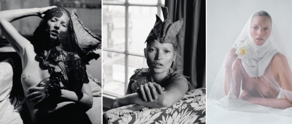 """Aos 38 anos, a modelo Kate Moss mostrou que está com tudo em cima, após posar de topless para o ensaio do editorial da 8ª edição da revista britânica """"Love"""". Fotografada pelas lentes de Tim Walker, a musa aparece com as sobrancelhas descoloridas, usando roupas de alta costura assinadas por Valentino, Vivienne Westwood, Givenchy, Balmain e Vionnet"""