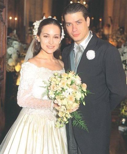 """Os atores Gabriela Duarte e Fábio Assunção durante gravação da novela """"Por.Amor"""", de 1997."""