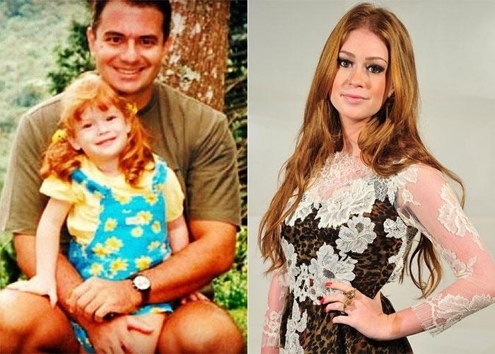 """Marina Ruy Barbosa postou uma foto em que aparece quando criança com o pai (12/8/12). """"Te amo, pai"""", escreveu. Pela imagem, dá para ver que a bela atriz conserva as madeixas ruivas que já exibia na infância"""