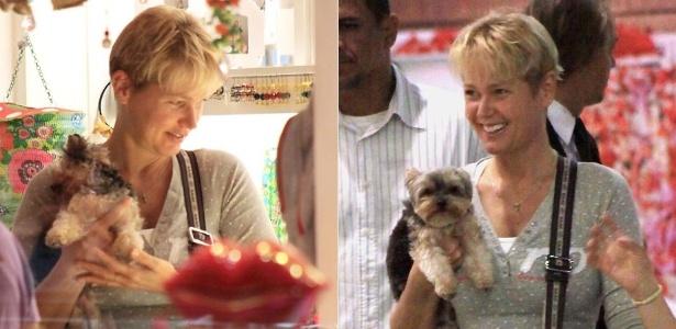 Xuxa passeia e o cachorro, o yorkshire Dudu