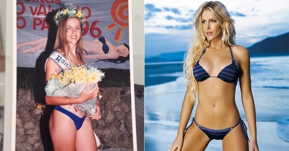 A apresentadora Ana Hickmann mostrou ao público uma imagem (à esquerda) de quando tinha apenas 15 anos e foi a vencedora de um concurso de beleza: ?Olha eu! Rainha das Piscinas do clube Aliança de Santa Cruz do Sul 96. Pouco antes do meu começo como modelo. Olha o tamanho da bunda e da coxa. Ficou ruim pra @lizibenites_ (Lizi Benites) e pra @dbolina (Dani Bolina)?, escreveu a apresentadora na web (9/9/12)
