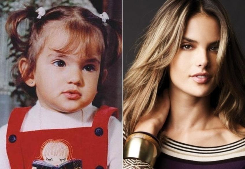 Fazendo biquinho ao posar para foto com apenas dois anos, Alessandra Ambrósio já mostrava ter pinta de top model