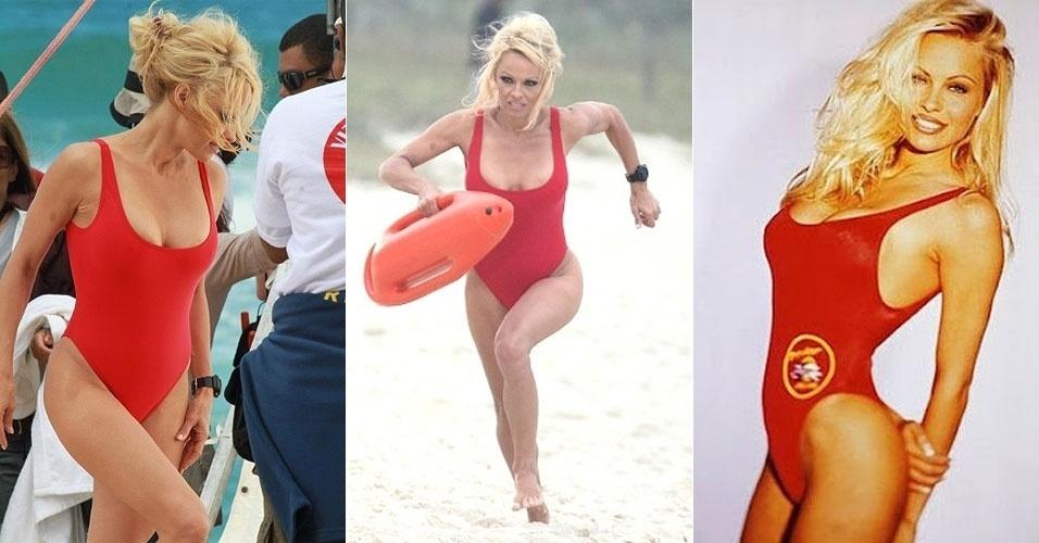 """Pamela Anderson gravou na última sexta-feira (14/9/12), no Rio de Janeiro, um comercial para uma marca de automóveis em que relembrou os tempos de CJ Parker, sua personagem na série """"S.O.S. Malibu"""". A loira usou um maiô vermelho semelhante ao que vestia no seriado criado em 1989. E aí, acha que a atriz, atualmente com 45 anos, mudou muito desde aquela época? A foto à direita mostra Pamela no período em que atuava em """"S.O.S. Malibu"""""""