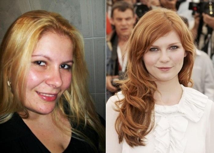 Os amigos de Elaine Oliveira acham que ela é parecida com a atriz Kisrten Dunst, que interpreta a Mary jane nos filmes do 'Homem-Aranha'.
