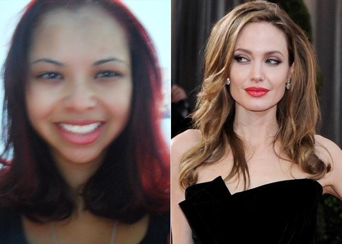 Sâmara Rodrigues, de Betim (MG), diz que se parece com a atriz Angelina Jolie.