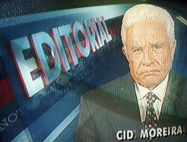 """O apresentador Cid Moreira fala sobre o editorial do """"Jornal Nacional"""" (28/9/97)"""