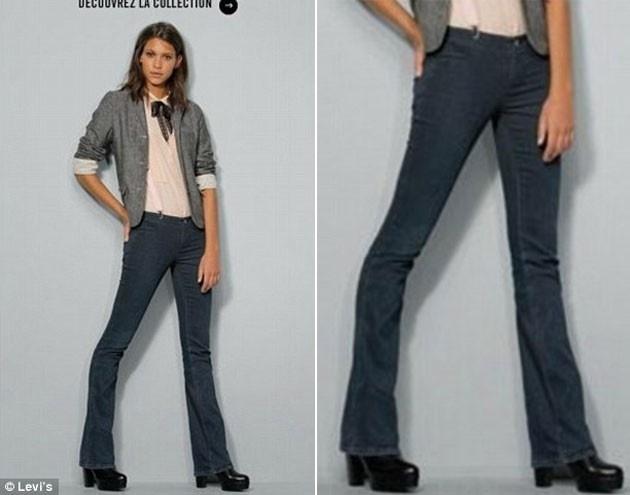 Uma modelo aparece com uma perna deformada em uma campanha da Levi?s. O erro de edição de imagem dá a impressão de que o joelho da moça está afundado