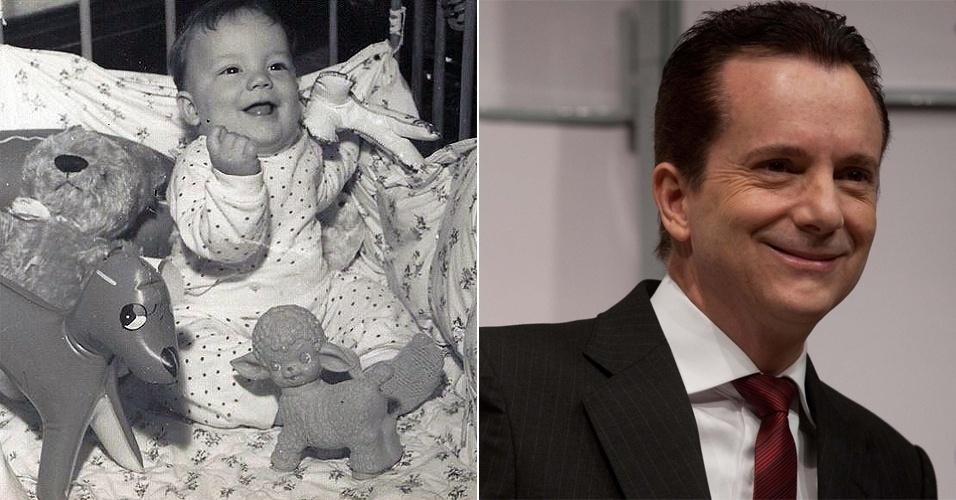 O bebê sorridente desta foto é o candidato à Prefeitura de São Paulo do PRB, Celso Russomano.
