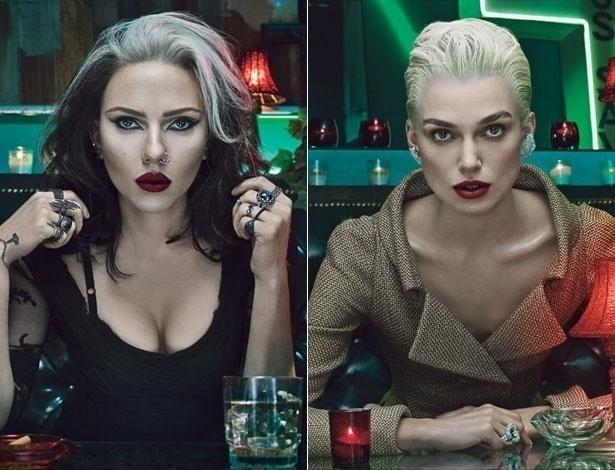 """Em ensaio para a revista """"W"""", as atrizes Scarlett Johansson (esq.) e Keira Knightley (dir.) posaram para as lentes do fotógrafo Steven Klein, com looks que prestam homenagem à história da moda. Representando os anos 1990, Scarlett aparece como uma roqueira grunge de cabelos pretos e brancos. Já Keira, dos anos 2000, está com os cabelos loiros e bem curtos, que a deixam com uma aparência andrógina"""