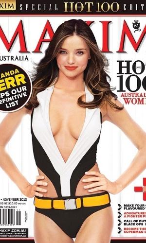 """A modelo australiana Miranda Kerr, esposa do ator Orlando Bloom, foi eleita recentemente a mulher mais sexy de seu país pela revista """"Maxim"""". A """"angel"""" da grife de lingerie Victoria's Secret lidera o top 100 de beldades (10/12/2012)"""
