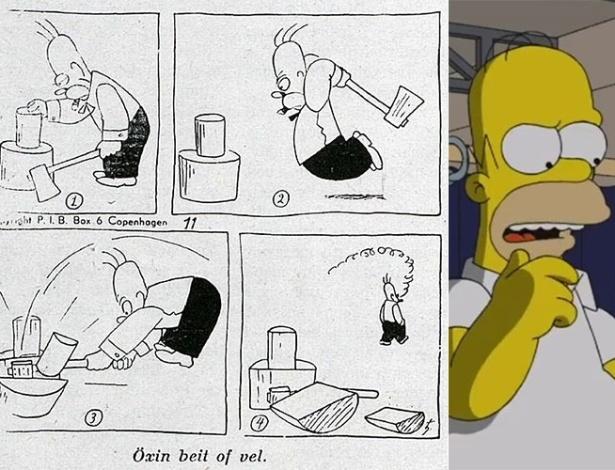 """O site """"Retronaut"""" encontrou uma tirinha islandesa de 1949 que mostra um personagem bastante semelhante a Homer Simpson, do desenho animado """"Os Simpsons"""" criado nos anos 1980 por Matt Groening. Mesmo tendo o formato de cabeça similar, há algumas diferenças. Enquanto Homer tem dois fios de cabelo, o personagem da tirinha tem três (22/10/2012)."""