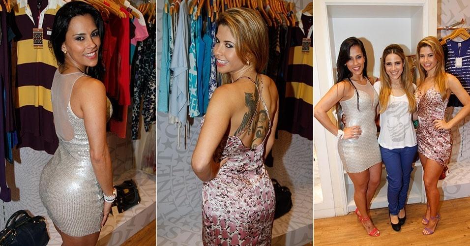 As ex-BBBs Cacau (BBB10) e Kelly (BBB12) prestigiam lançamento da nova coleção masculina e feminina da loja Polo Wear, em São Paulo (SP). A cantora Wanessa Camargo também foi ao evento e posou para fotos com as beldades (23/10/2012)