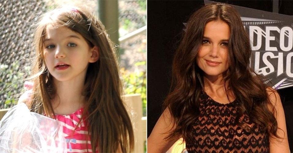 Suri Cruise e Katie Holmes são muito parecidas, não apenas nos traços físicos. As duas já foram vistas usando looks iguais, combinando as cores das roupas e até mesmo com o corte de cabelo! De qualquer forma, não dá para negar a beleza das duas, não é mesmo?