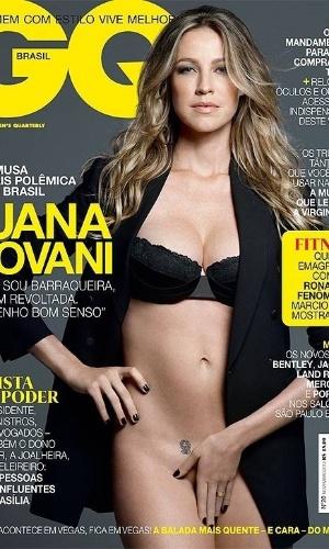 """Luana Piovani aparece usando apenas um sutiã e um casaco na revista """"GQ"""" de novembro. """"Não sou barraqueira, e nem revoltada. Tenho bom senso"""", diz a atriz, logo na capa. A foto foi divulgada pelo Facebook da publicação. Na coluna de Mônica Bergamo, a atriz de """"Guerra dos Sexos"""" comenta um pouco da relação com os usuários no Twitter. """"A pessoa me escreve dizendo: 'Como você está gorda!' Digo: 'Gorda, mas o seu namorado deve estar no banheiro com minha revista na mão'"""", alfineta Luana (29/10/12)"""