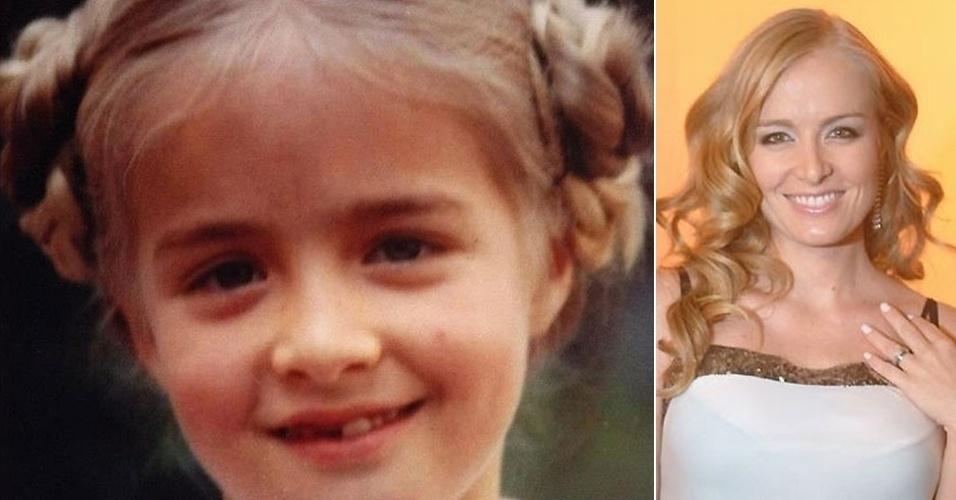 Angélica publicou foto em seu Facebook de quando era criança e tinha apenas sete anos. Com cabelos penteados e tranças, a apresentadora exibe o sorriso banguela (2/11/12)