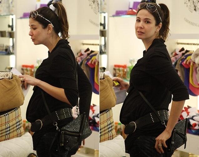 Grávida de seu segundo filho, a apresentadora Luciana Gimenez passeia por shopping de São Paulo (28/10/10)