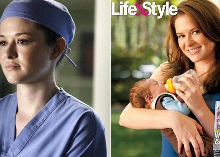 """18.jan.2012 - Sarah Drew, a doutora April Kepner do seriado """"Grey's Anatomy"""", deu à luz Micah Emmanuel Lanfer. A atriz só soube o sexo do bebê na hora do parto. """"Eu pensei que seria uma boa ideia deixar para descobrir na hora porque eu sou obcecada por controle por natureza"""", declarou"""