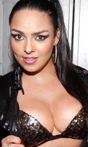 Andressa Soares, a Mulher Melancia, mostrou que está em ótima forma durante um show de funk que ela apresentou no Teatro Orion, no centro da cidade de São Paulo (9/11/12). Com um traje preto e sexy, a bela levou o público masculino da casa à loucura