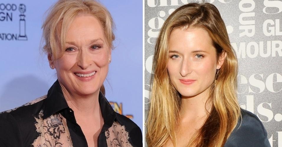Grace Gummer (à direita) não só herdou os traços da mãe Meryl Streep como também seguiu seus passos profissionais. A jovem atriz fará uma participação na segunda temporada do seriado 'Newsrooom', que mostra os bastidores de um canal de televisão. Grace será Hallie Shea, uma repórter envolvida com a campanha de um candidato à presidência dos EUA (novembro/12)